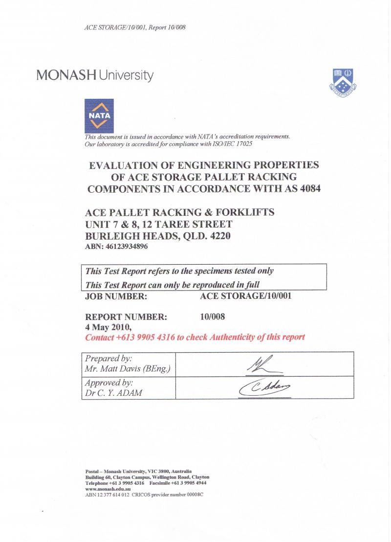 ACE Pallet Racking & Forklifts Australian Standard Certified